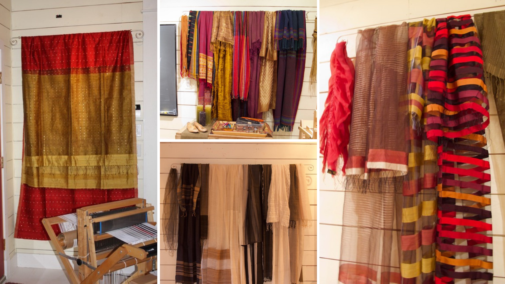 Handweaving in India: some of the beautiful handwoven samples on display in the JST Textiles studio
