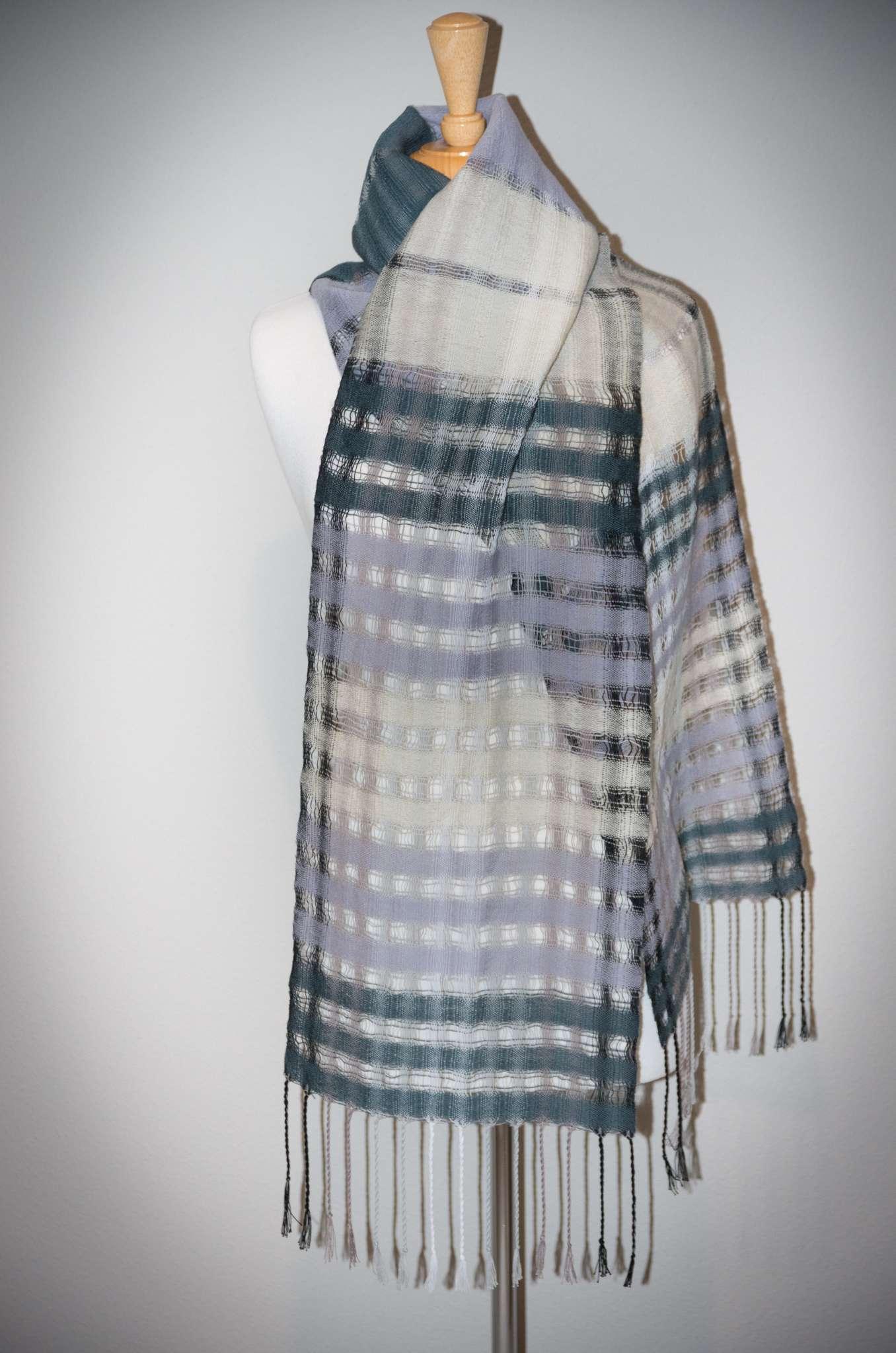 Denting-charcoal, dove grey, cream white wool; cotton warp